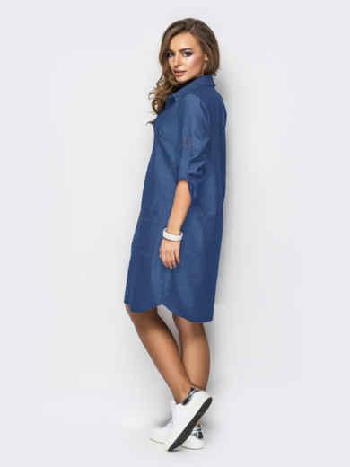Платье из облегчённого денима синего цвета 48742, фото 2