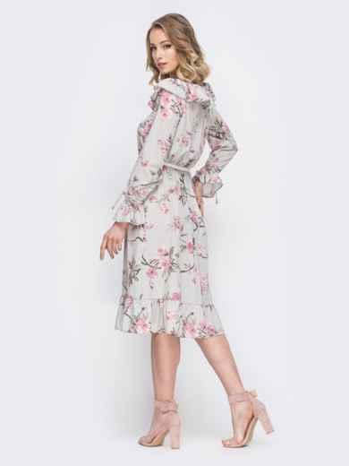 Платье с принтом и воланом по вырезу серое 45552, фото 3