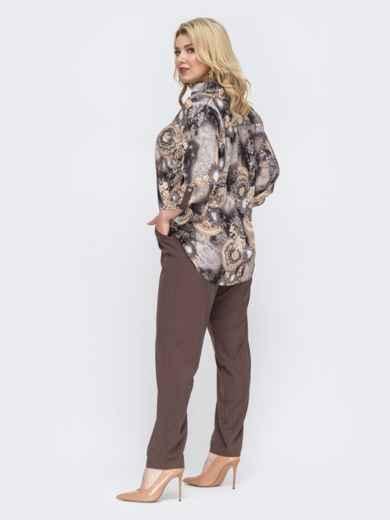 Брючный комплект батал с принтованной блузкой коричневый 49967, фото 2