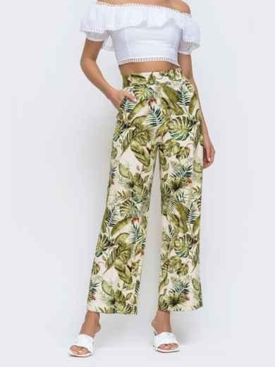 Бежевые брюки прямого кроя в тропический принт 48310, фото 1