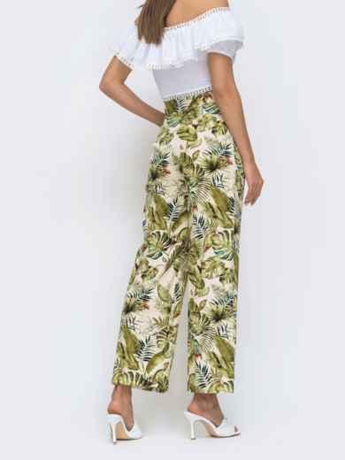 Бежевые брюки прямого кроя в тропический принт 48310, фото 2