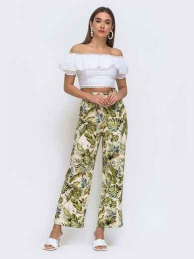 Бежевые брюки прямого кроя в тропический принт 48310, фото 3