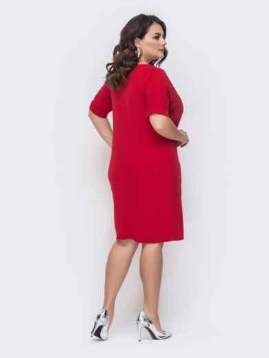 Свободное платье батал красного цвета 46134, фото 2