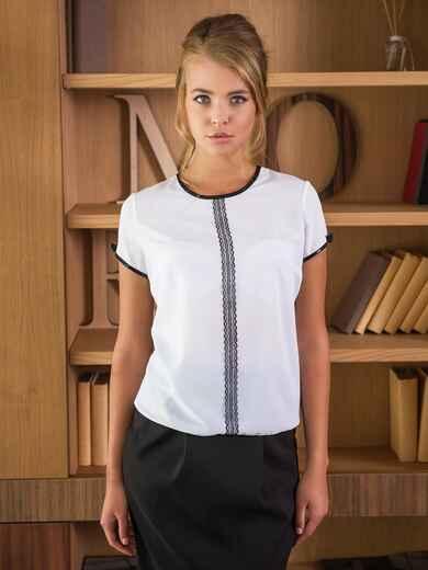 Белая блузка с контрастной планкой на полочке 13899, фото 1