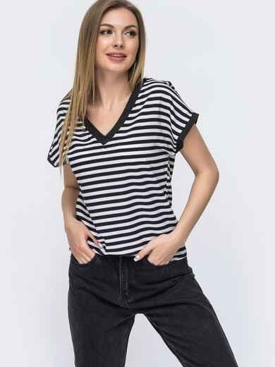 Черная футболка в полосу с V-образным вырезом 46631, фото 1