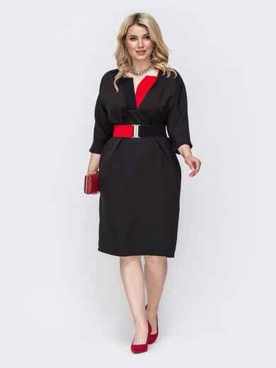 Черное платье батал с контрастными вставками 49786, фото 1