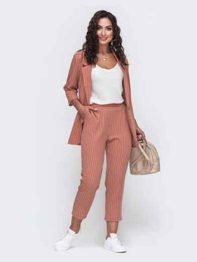 Комплект из жакета и брюк большого размера розовый 49810, фото 2