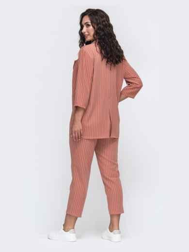 Комплект из жакета и брюк большого размера розовый 49810, фото 3