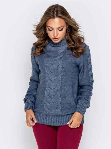 Синий свитер с ажурной вязкой 41072, фото 1