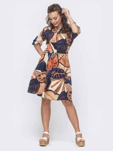 Платье-рубашка с принтом и резинкой по талии бежевое 46602, фото 2