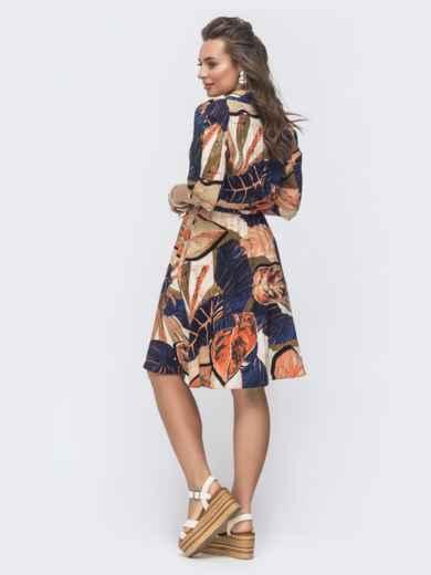Платье-рубашка с принтом и резинкой по талии бежевое 46602, фото 3