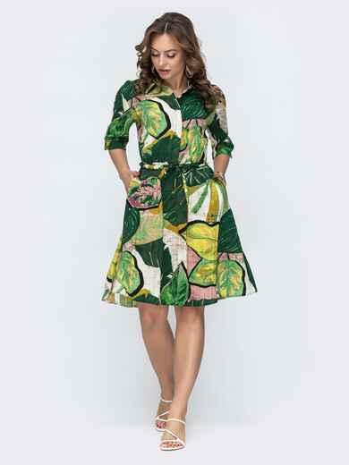 Платье-рубашка с принтом и резинкой по талии зеленое 46601, фото 1