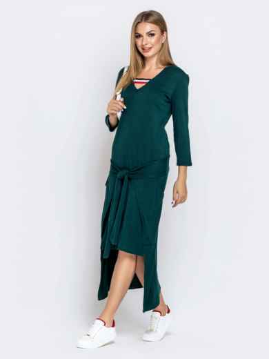 Платье со шлейфом и накладными карманами зеленое 41029, фото 2