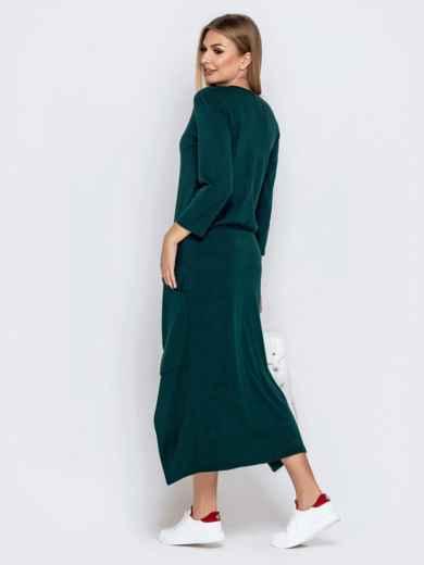 Платье со шлейфом и накладными карманами зеленое 41029, фото 3