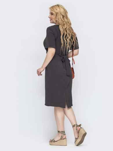 Приталенное платье большого размера серое 46199, фото 2
