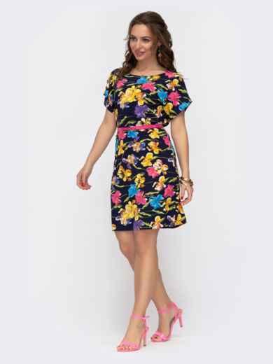 Расклешенное платье с цветочным принтом темно-синее 46931, фото 2