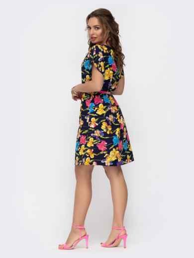 Расклешенное платье с цветочным принтом темно-синее 46931, фото 3