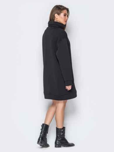 Платье из трёхнитки в стиле oversize черного цвета 18186, фото 2