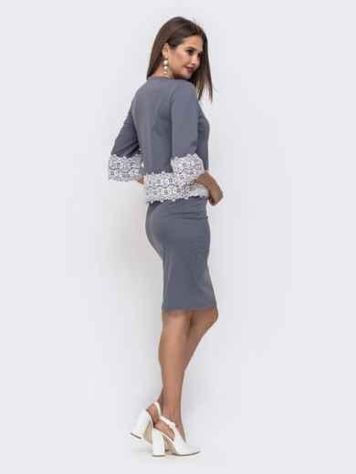 Серый комплект из юбки и кофты с кружевом по низу 42624, фото 4