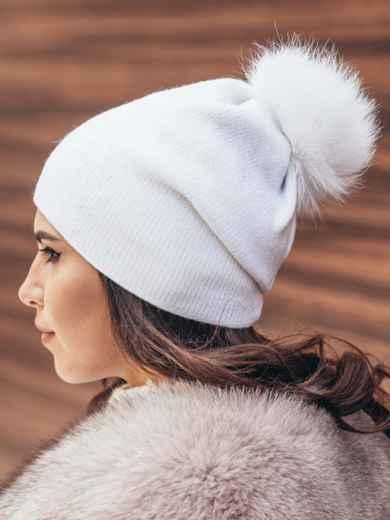 Белая шапка со стразами 14723, фото 2