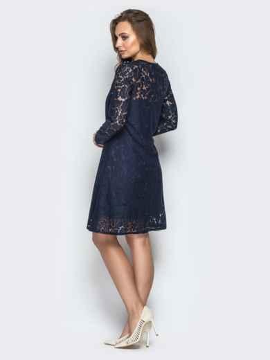 Гипюровое платье-трапеция с жемчужинами на кокетке синее 20602, фото 3