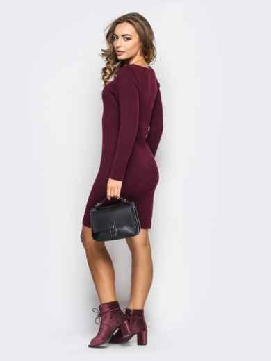 Вязанное платье-футляр с длинным рукавом бордовое 13772, фото 2