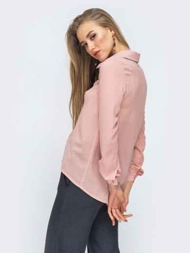 Блузка свободного силуэта с удлиненной спинкой пудровая 45580, фото 2