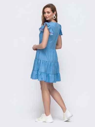 Джинсовое платье в горошек с расклешенной юбкой голубое 48590, фото 2