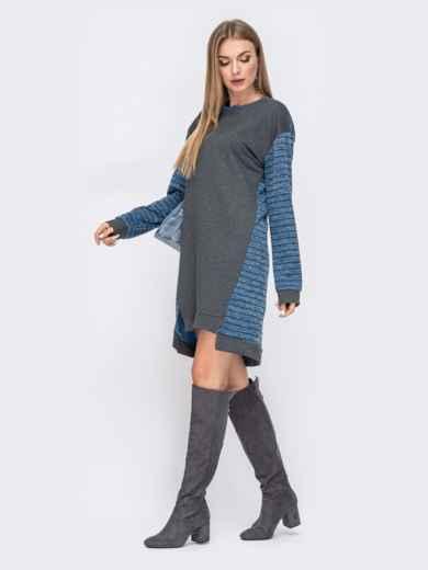 Платье с удлиненной спинкой и контрастными вставками синее 41482, фото 2