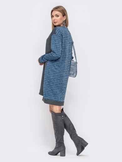 Платье с удлиненной спинкой и контрастными вставками синее 41482, фото 3