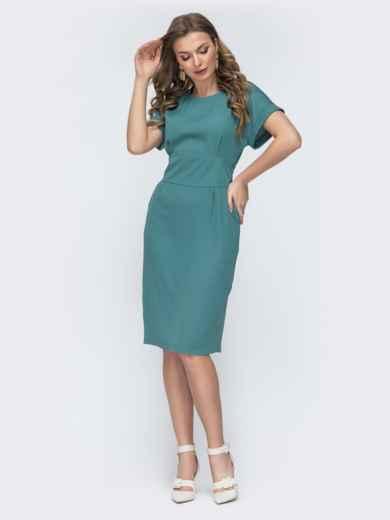 Приталенное платье с карманами бирюзовое 45831, фото 2