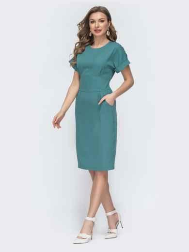 Приталенное платье с карманами бирюзовое 45831, фото 3