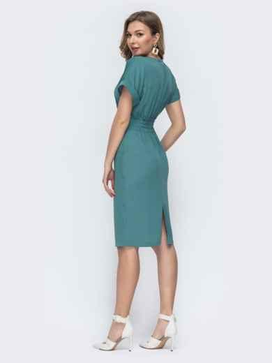 Приталенное платье с карманами бирюзовое 45831, фото 4