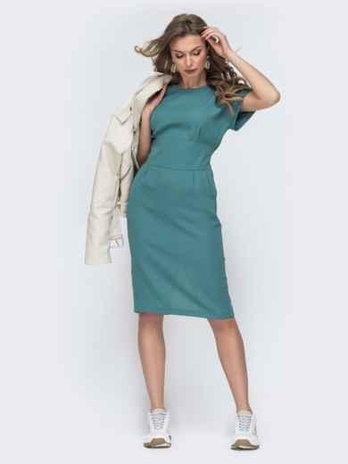 Приталенное платье с карманами бирюзовое 45831, фото 5