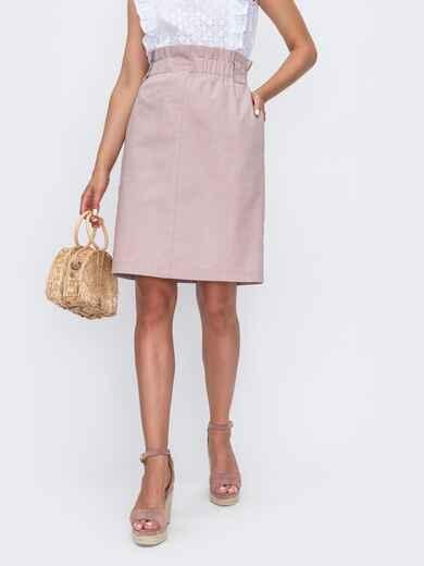 Пудровая юбка прямого кроя из льна 49184, фото 1