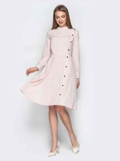 Пудровое платье в горошек с пуговицами и юбкой-клеш 20619, фото 1