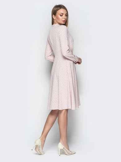Пудровое платье в горошек с пуговицами и юбкой-клеш 20619, фото 2