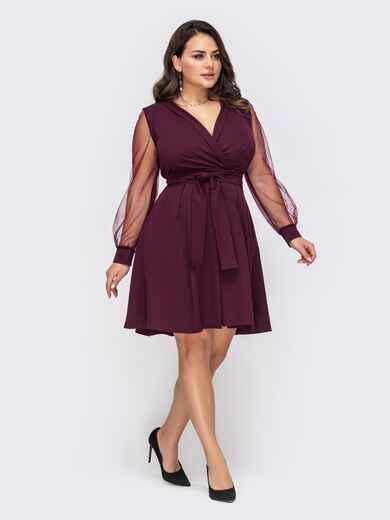 Расклешенное платье батал с рукавами из фатина бордовое 51321, фото 1
