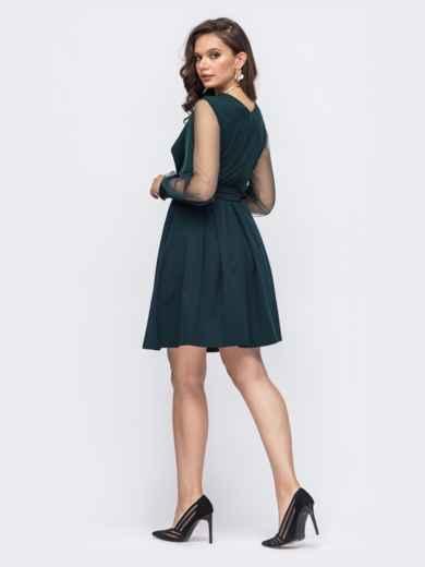 Расклешенное платье батал с рукавами из фатина зеленое 51322, фото 2