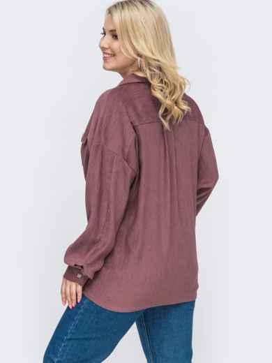 Свободная рубашка батал из вельвета фиолетовая 49828, фото 2