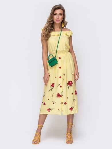 Желтое платье вышивкой и открытыми плечами 48318, фото 1