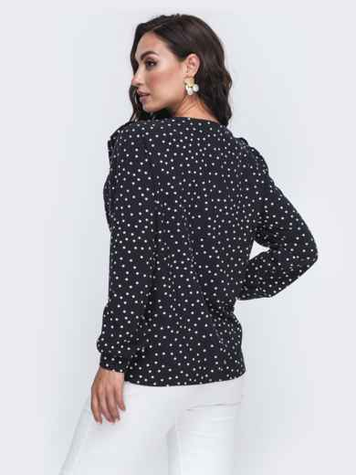 Чёрная блузка в мелкий горох большого размера 49813, фото 2