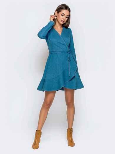 Джинсовое платье на запах с воланом по низу голубое 41006, фото 1