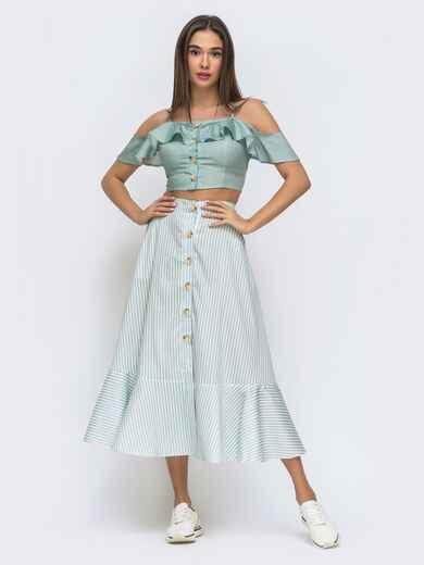 Голубой комплект с юбкой в узкую полосу 48294, фото 1