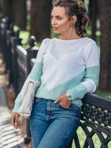 Мятный вязаный свитер с перфорацией 50421, фото 2