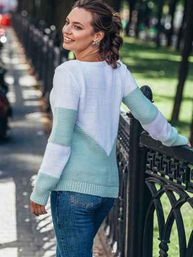 Мятный вязаный свитер с перфорацией 50421, фото 3