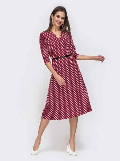 Платье в мелкий горох с V-вырезом бордовое 42987, фото 1