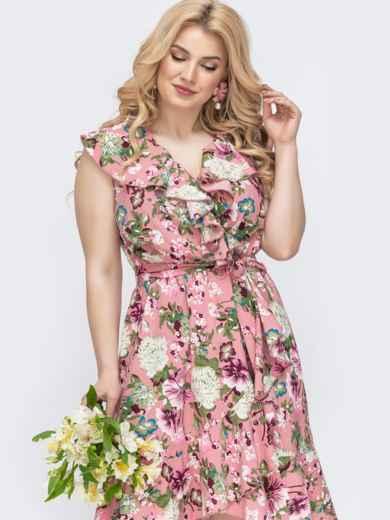 Розовое платье батал с принтом и оборкой по вырезу 46253, фото 2