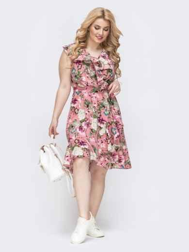 Розовое платье батал с принтом и оборкой по вырезу 46253, фото 3