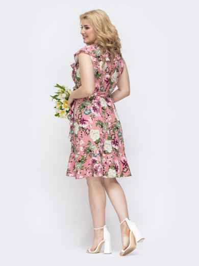 Розовое платье батал с принтом и оборкой по вырезу 46253, фото 4